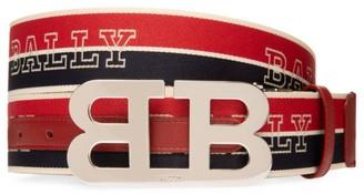Bally B Buckle Striped Reversible Logo Belt