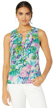 Lilly Pulitzer Essie Top (Resort White Mermaid In The Shade) Women's Clothing