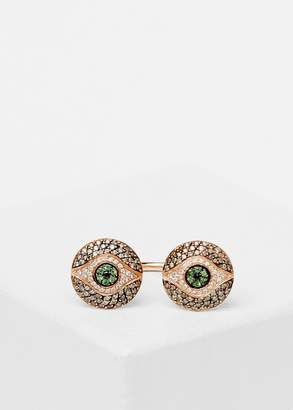 Makri Women's Double Eye Knuckle Ring in Green/Pink Gold Size EU 55/US 7