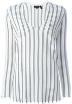 Theory striped v-neck sweater - women - Polyester/Viscose - L