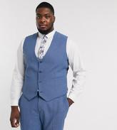 Asos DESIGN Plus wedding super skinny suit suit vest in cornflower blue wool blend herringbone