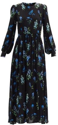 Goat Liberty Floral-print Crepe Maxi Dress - Black Blue