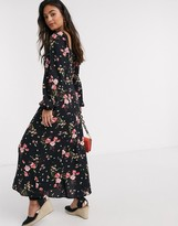 New Look square neck puff sleve midaxi dress in dark based floral