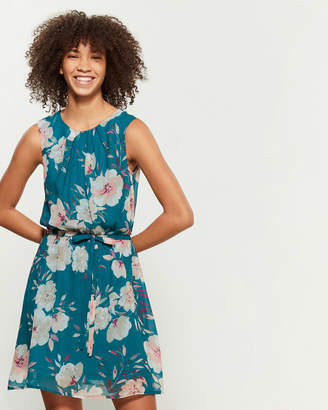 Apricot Teal Floral Print Fit & Flare Dress
