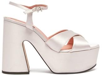 Rochas Satin Platform Sandals - Womens - White