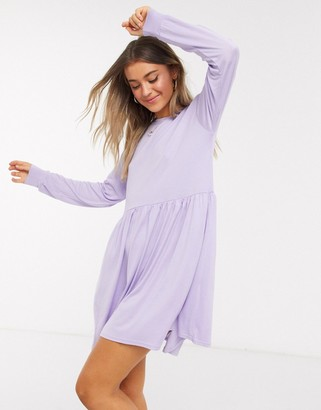 In The Style x long sleeve mini smock dress in lilac