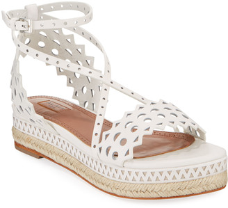 Alaia 20mm Vienne Laser-Cut Leather Platform Sandals