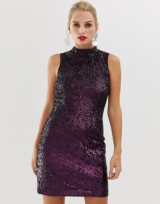 French Connection Starlight sequined high neck dress-Purple