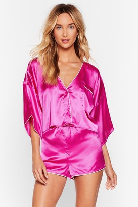 Nasty Gal Womens You've Made Your Bed Satin PJ Short Set - Pink - 8