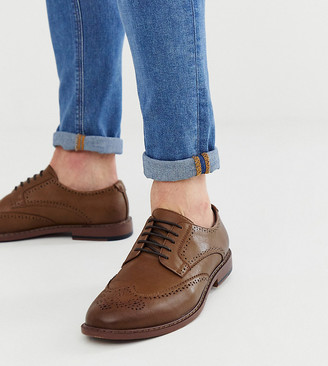 ASOS DESIGN Wide Fit brogue shoes in tan faux leather
