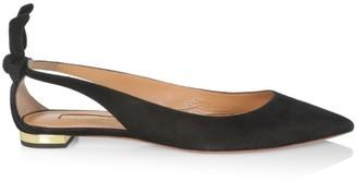 Aquazzura Bow Tie Cutout Suede Ballet Flats