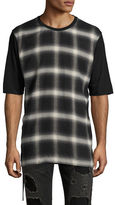 Helmut Lang Plaid Combo Drawcord T-Shirt