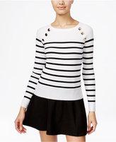XOXO Juniors' Embellished Striped Sweater