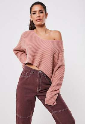 Missguided Blush Rib Oversized Crop Knit Sweater