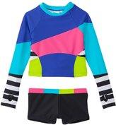 Limeapple Swimwear Girls' Surf Colorblock Rash Guard Set (4yrs16yrs) - 8142291