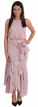Forever Unique Pink Polka Dot Print Halter Neck Ruffle Hem Maxi Dress for Ladies XXL