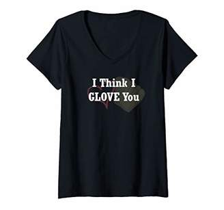 Womens I Think I Glove You Funny Pun Baseball V-Neck T-Shirt