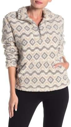 Coffee Shop Diamond Print Faux Fur Pullover Sweater