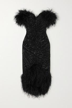 Nervi NERVI - Luna Off-the-shoulder Feather-embellished Sequined Crepe Midi Dress - Black