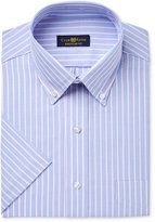 Club Room Men's Classic-Fit Wrinkle-Resistant Striped Cotton Short-Sleeve Dress Shirt, Only at Macy's