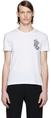 Alexander McQueen White Embroidered Floral Logo T-Shirt