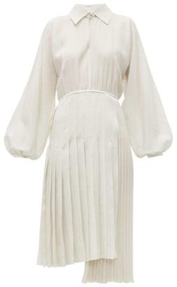 Fendi Balloon-sleeve Swiss-dot Silk Midi Dress - Womens - White Multi