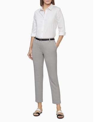 Calvin Klein Slim Fit Twill Belted Ankle Pants