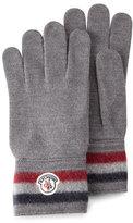 Moncler Striped Logo Cashmere Gloves, Gray