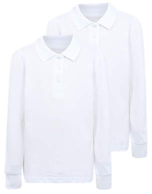 George Girls White Long Sleeve Scallop School Polo 2 Pack