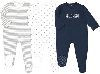 La Redoute Collections Pack of 3 Cotton Sleepsuits, Birth-3 Years