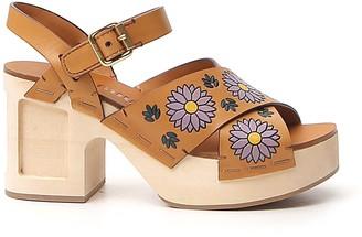 Miu Miu Floral Print Sandals