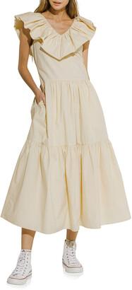 ENGLISH FACTORY Sleeveless Ruffled-Neck Midi Dress