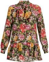 Etro Frida floral-print tie-neck silk blouse