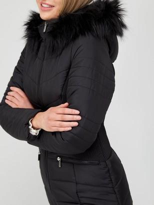 Very ValueShort Padded Jacket withFaux Fur Trim - Black
