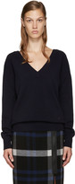 Victoria Beckham Navy Double V-Neck Sweater