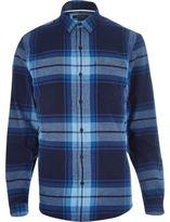 River Island MensBlue check long sleeve shirt