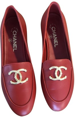 Chanel Red Leather Flats