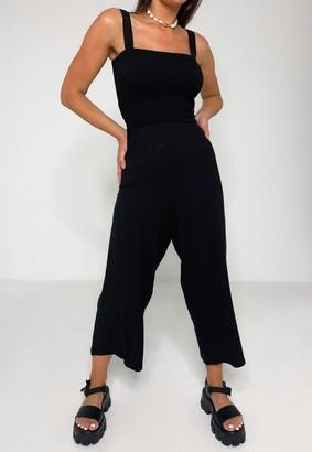 Missguided Black Wide Strap Square Neck Culotte Jumpsuit