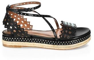 Alaia Laser Cut Leather Platform Espadrille Sandals