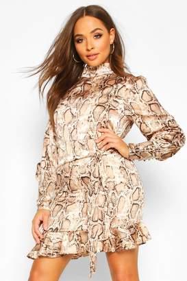 boohoo Snake Print Cowl High Neck Mini Dress