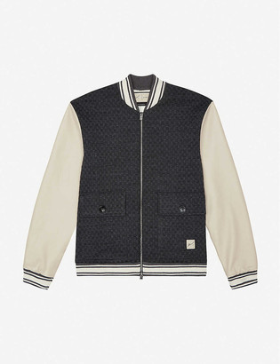 Prevu Solander leather and woven bomber jacket