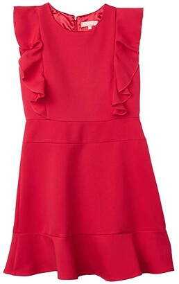 BCBG Girls Bonded Double Crepe Flounce Dress (Big Kids) (Lipstick) Girl's Dress