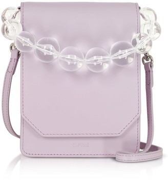 Cafune Lilac Smooth Leather Bellows Crossbody Bag