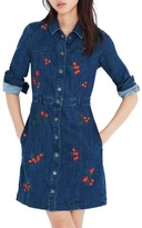 Madewell Women's Embroidered Denim A-Line Dress