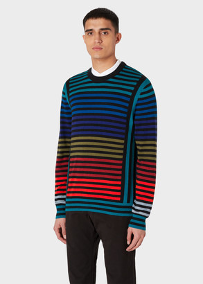 Paul Smith Men's Striped Colour-Block Wool-Blend Sweater