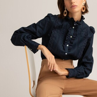 La Redoute Collections Cotton High-Neck Shirt with Long Sleeves
