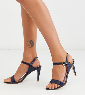 Miss KG wide fit barely there heeled sandals-Navy