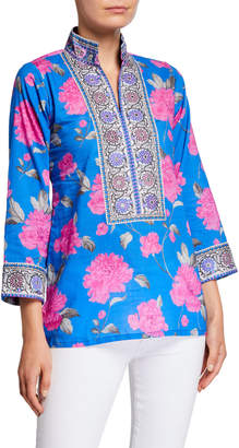 Bella Tu Peony-Print Mandarin Collar Tunic with Borders