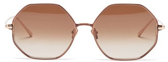 Linda Farrow Leif Oversized Angular 22kt Gold-plated Sunglasses - Brown