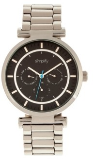Simplify Quartz The 4800 Silver Case, Black Dial, Alloy Watch 44mm